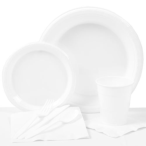 White Plastic Party Pack For 20