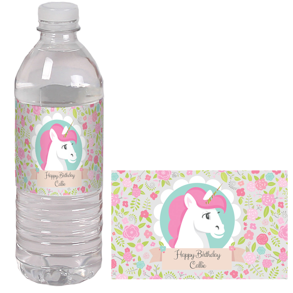 Unicorn Personalized Water Bottle Labels