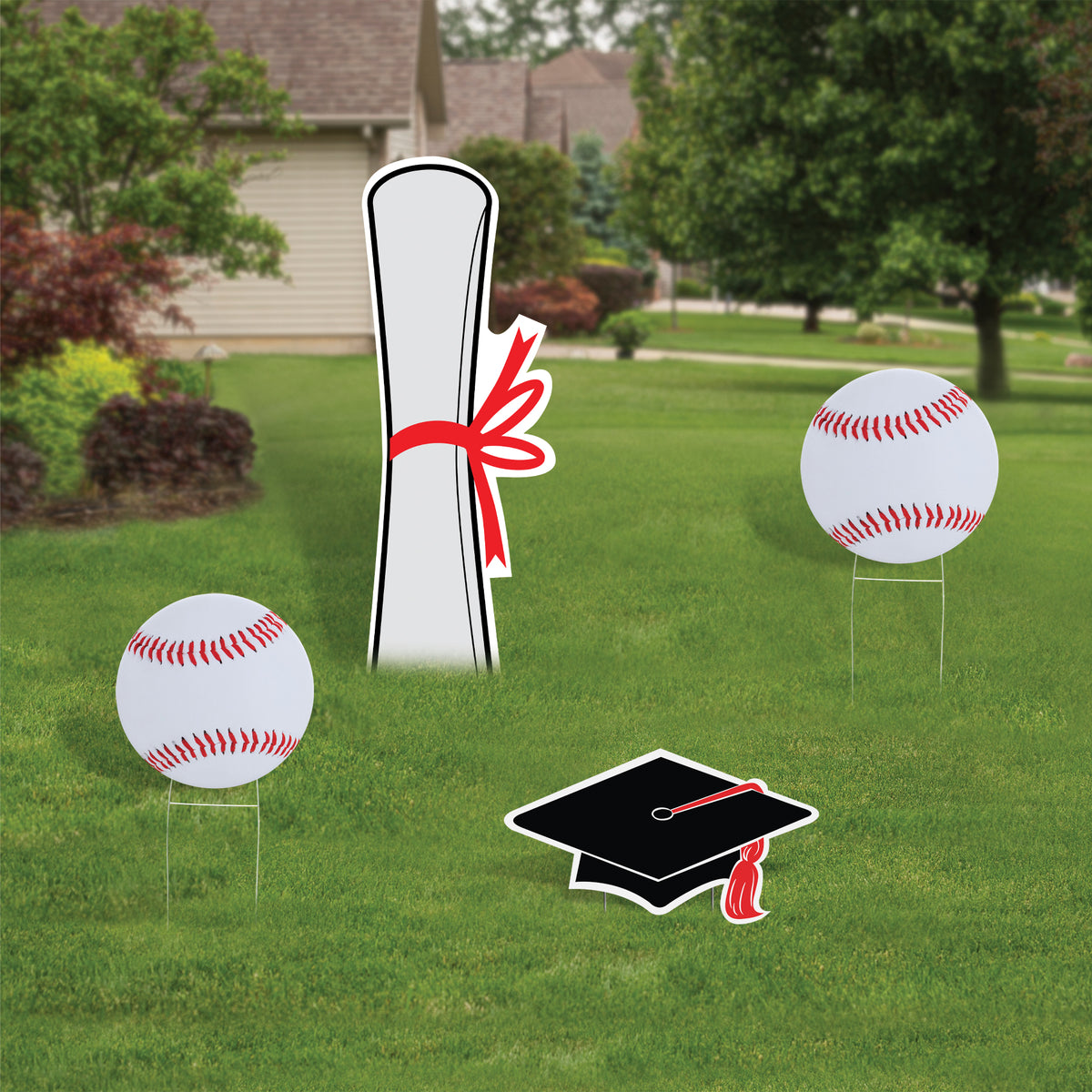 Baseball Graduation Yard Sign Expression Icon Set