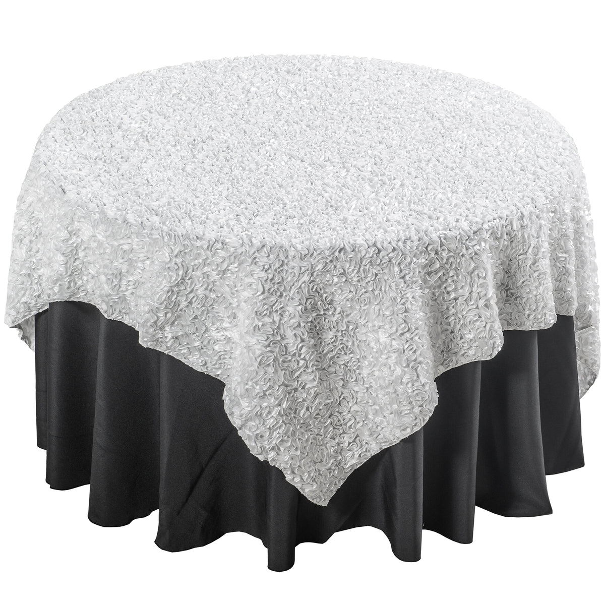 Warm White Wavy Satin Table Overlay