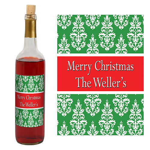 Trendy Christmas Damask Wine Bottle Label