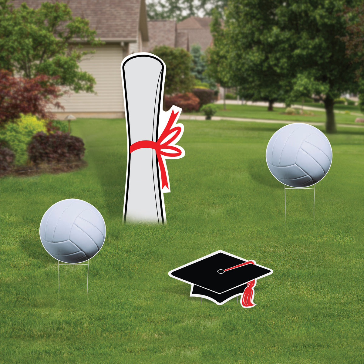 Volleyball Graduation Yard Sign Expression Icon Set