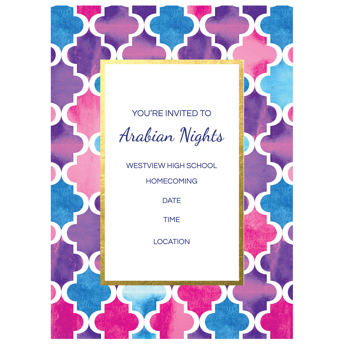 Arabian Nights Personalized Stationary Card Invitations