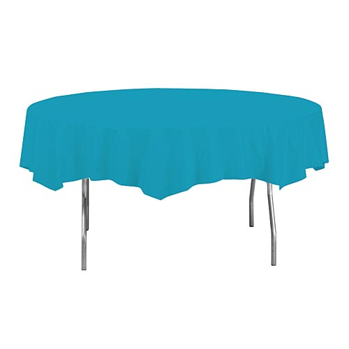 "Turquoise 82"" Round Paper Table Covers"