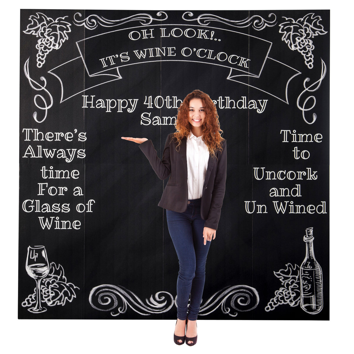 7 ft. Wine Time Personalized Photo Background