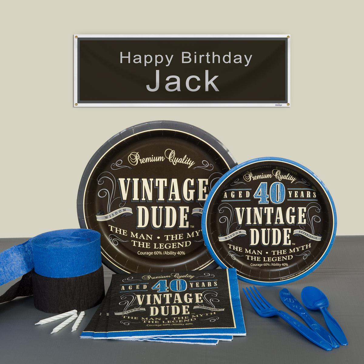 Vintage Dude 40th Deluxe Party Pack For 8