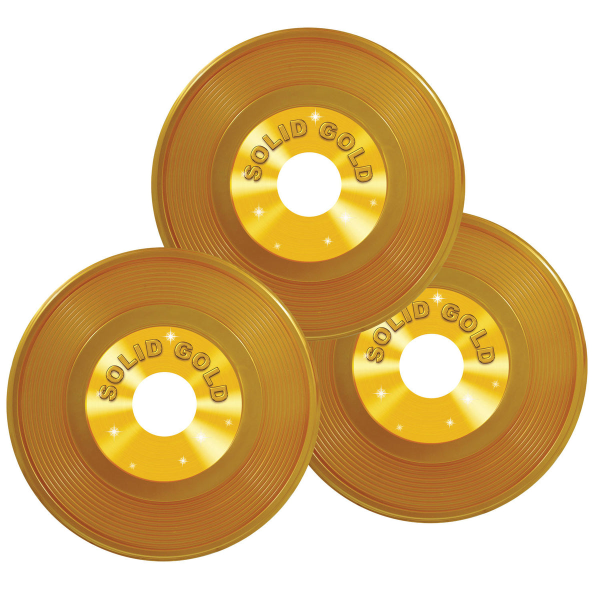 9 in. Gold Plastic Records