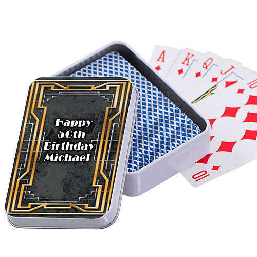 Art Deco Golden Playing Card Cases