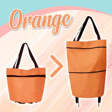 Load image into Gallery viewer, Foldable Shopping Trolley-Tote Bag MadameFlora Orange