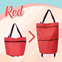 Load image into Gallery viewer, Foldable Shopping Trolley-Tote Bag MadameFlora Red