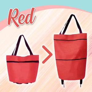Foldable Shopping Trolley-Tote Bag MadameFlora Red