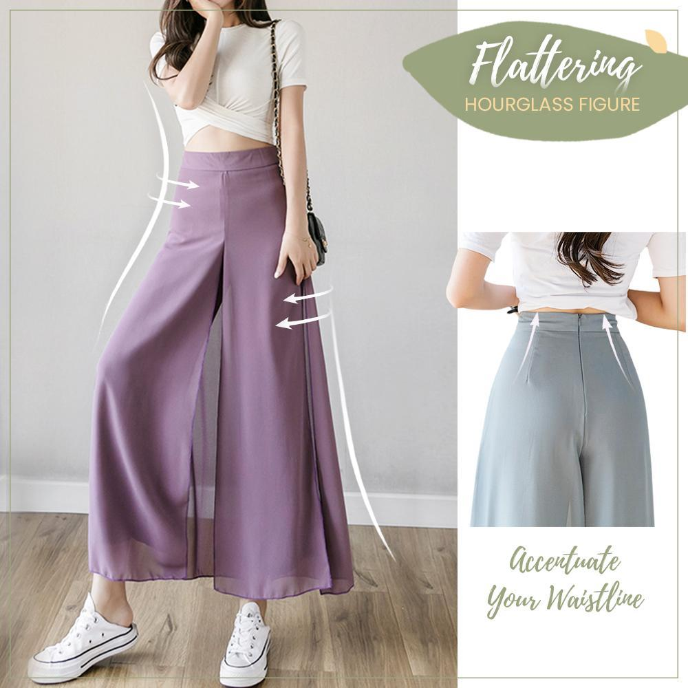 Ice Silk Chiffon Wide Leg Pants