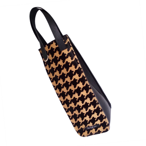 Wine Bag - Leather - Houndstooth Hair-on