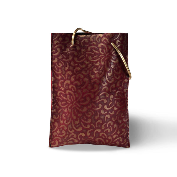 Festive Bag - Leather, Minimalist - Old Gold and Red (Floral)