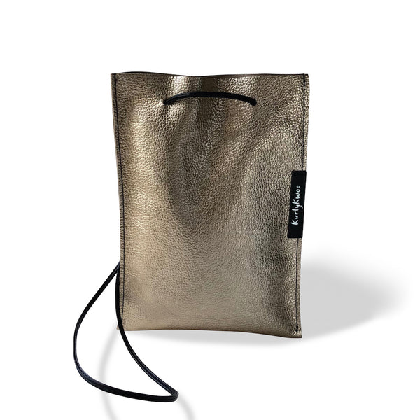 Festive Bag - Leather, Minimalist - Pale Gold