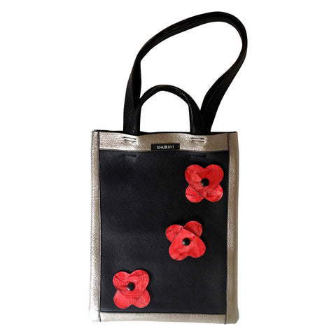 Huia Unisex Slim Leather Tote Bag - Black and Silver Pebbled Leather with Red Flowers