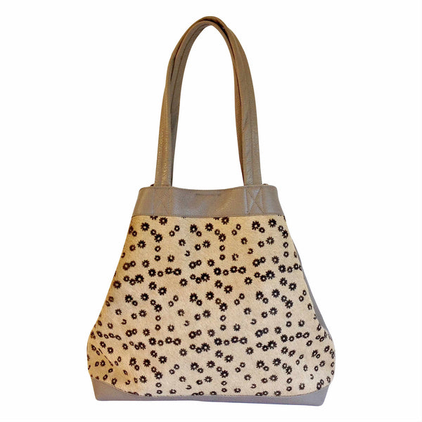 Takahe Carry-all Leather Tote Bag - Daisy Print (Hair-on) and Taupe Pebbled Leather