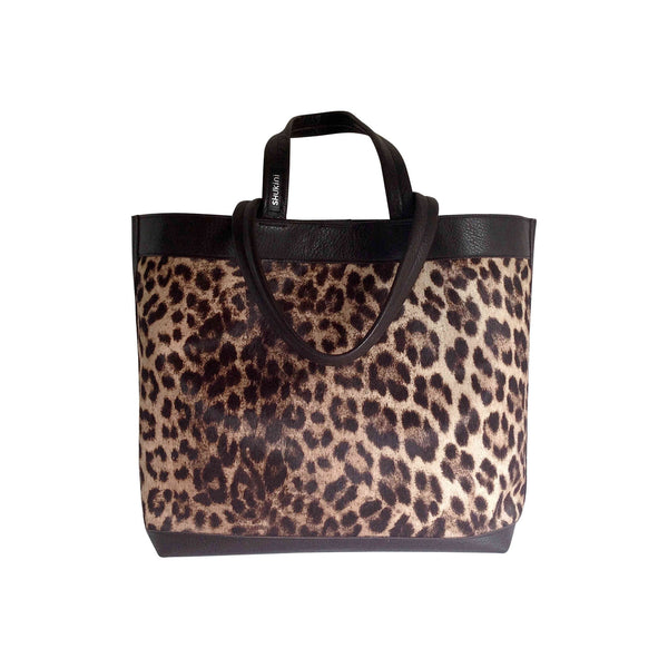 Takahe Carry-all Leather Tote Bag - Leopard Print (Hair-on) and Dark Chocolate Pebbled Leather