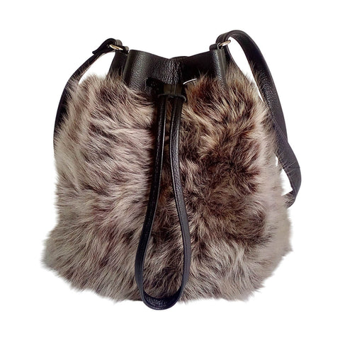 Te Kiwi Fur and Leather Bucket Bag - Smoke Tipped Cocoa Italian Sheep and Black Pebbled Leather
