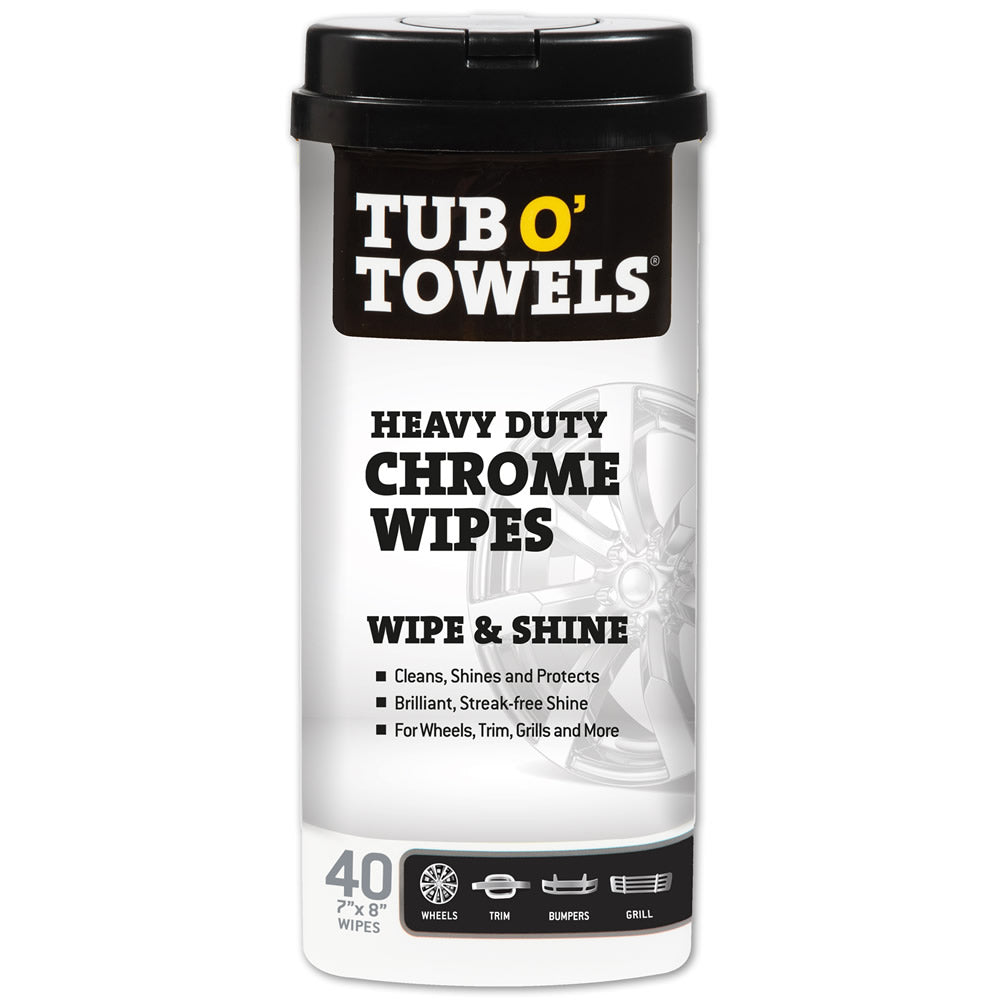 Tub O' Towels Heavy Duty Chrome Wipes, 40-Count