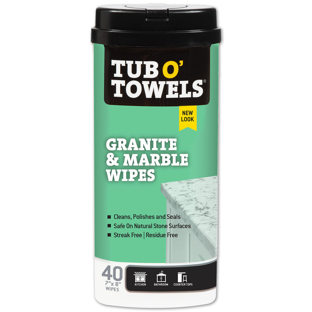 Tub O' Towels Granite and Marble Cleaning Wipes, 40-Count