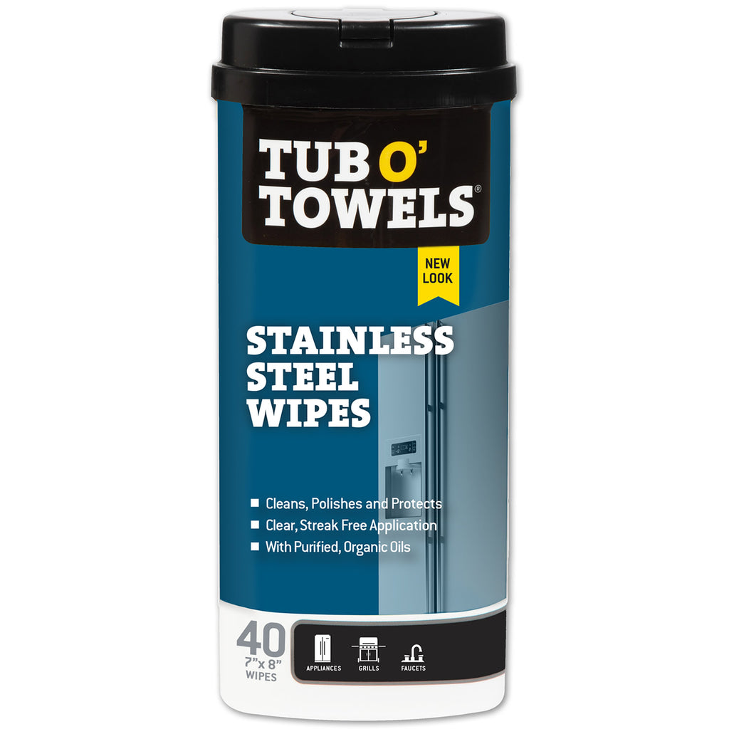 Tub O' Towels Stainless Steel Cleaning Wipes, 40-Count