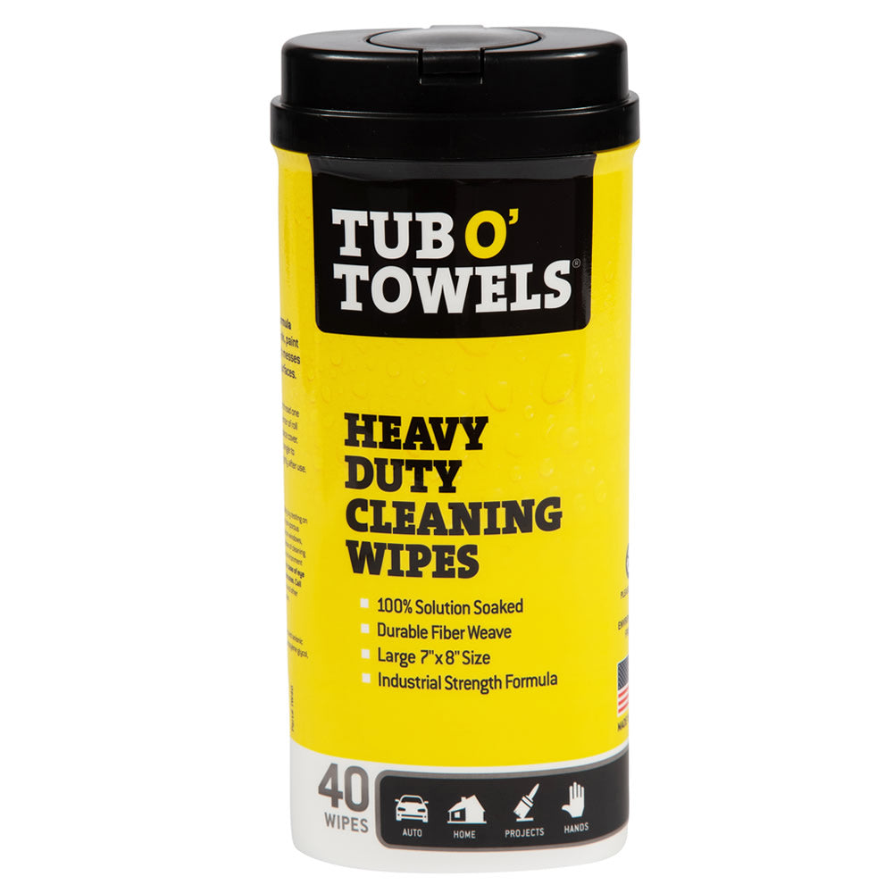 Tub O' Towels Heavy Duty Cleaning Wipes, 40-Count