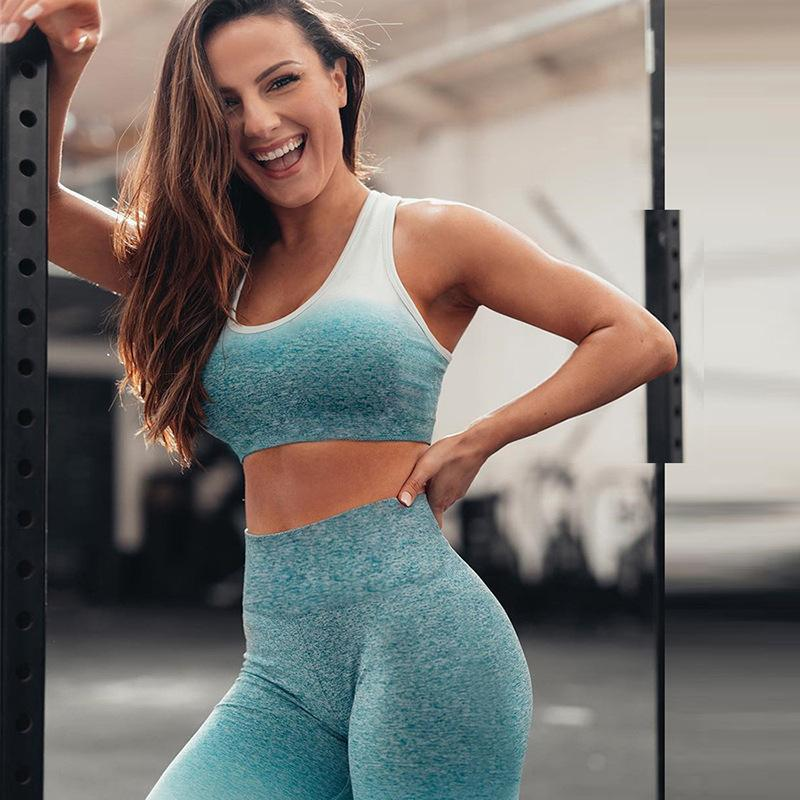 Ombre Printed Breathable Cami Top & Bottom Yoga Suit