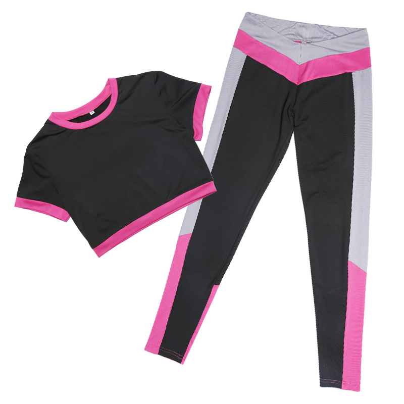 Color Patch Unique Short Top & Midriff-baring Activewear Yoga Suit