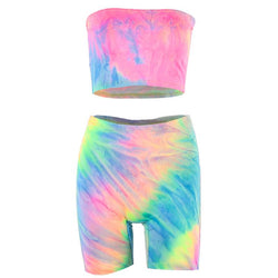 Tie-dyed Midriff-baring  Two-Pieces