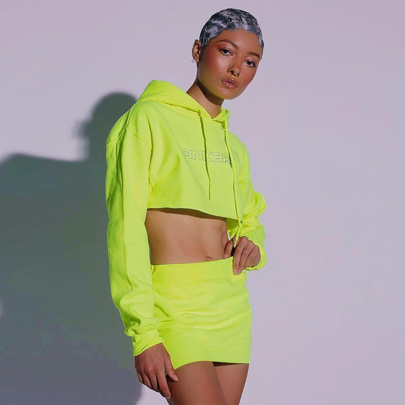 Neon Color Reflective Line Deco Hoodie & Dress  Two-Pieces