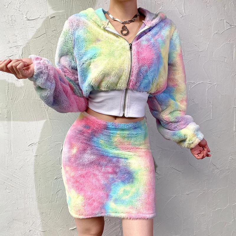 Dazzle Rainbow Top & Bodycone Dress Midriff-baring Two Pieces