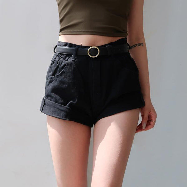 Elastic Roll Up High Waist Shorts