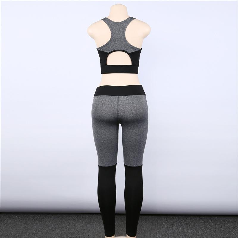 Cold Color Patch Breathable Activewear Yoga Suit