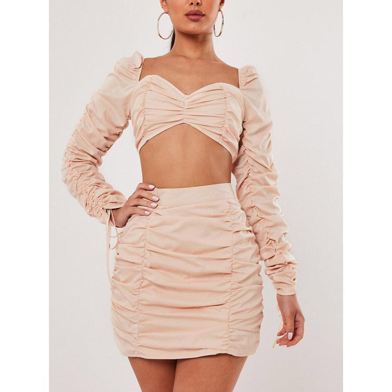 Sweet & Sexy Girl Bodycon Dress & Midriff-baring Top Two-Pieces