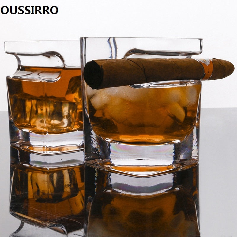 Whiskey Glass w/ Cigar Holder (320 ml)