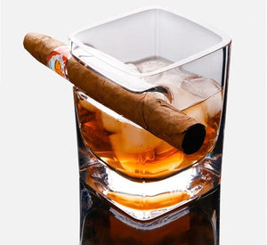 Open image in slideshow, Whiskey Glass w/ Cigar Holder (320 ml)