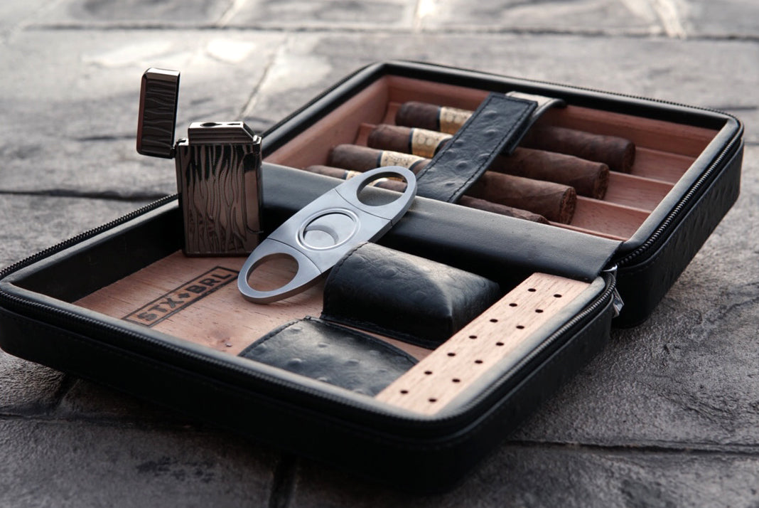 travel cigar humidor gift idea with cutter and lighter for birthday or fathers day