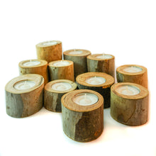 Load image into Gallery viewer, Rustic wood tea light holders- 3pcs