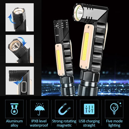 Multifunctional 360-degree Magnetic Flashlight