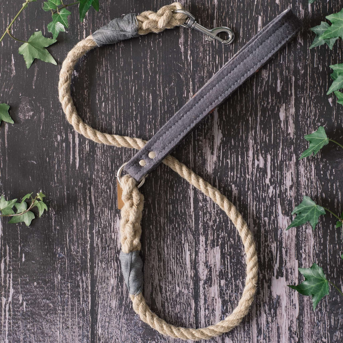 Smug Mutts Natural Hemp and Grey Wool Felt Handle Lead with Grey Whipping and Sliver Spring Snap
