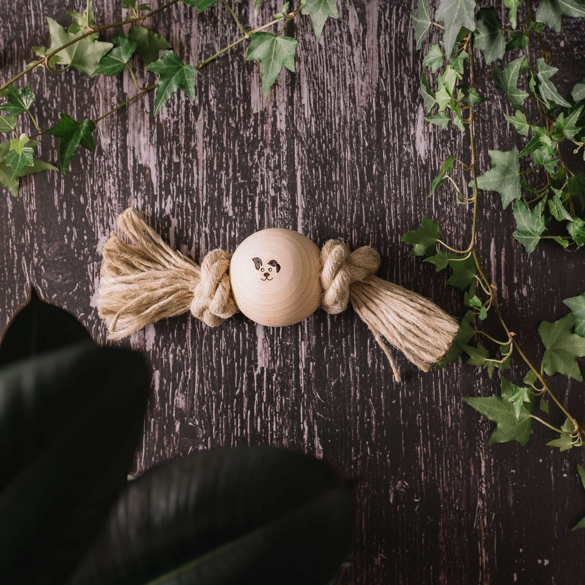 One Ball - Smug Mutts Natural Hemp Rope and Beech Wood Dog Toy, Two Knots Hold the Ball in Place, Natural and Eco Friendly Dog Toy