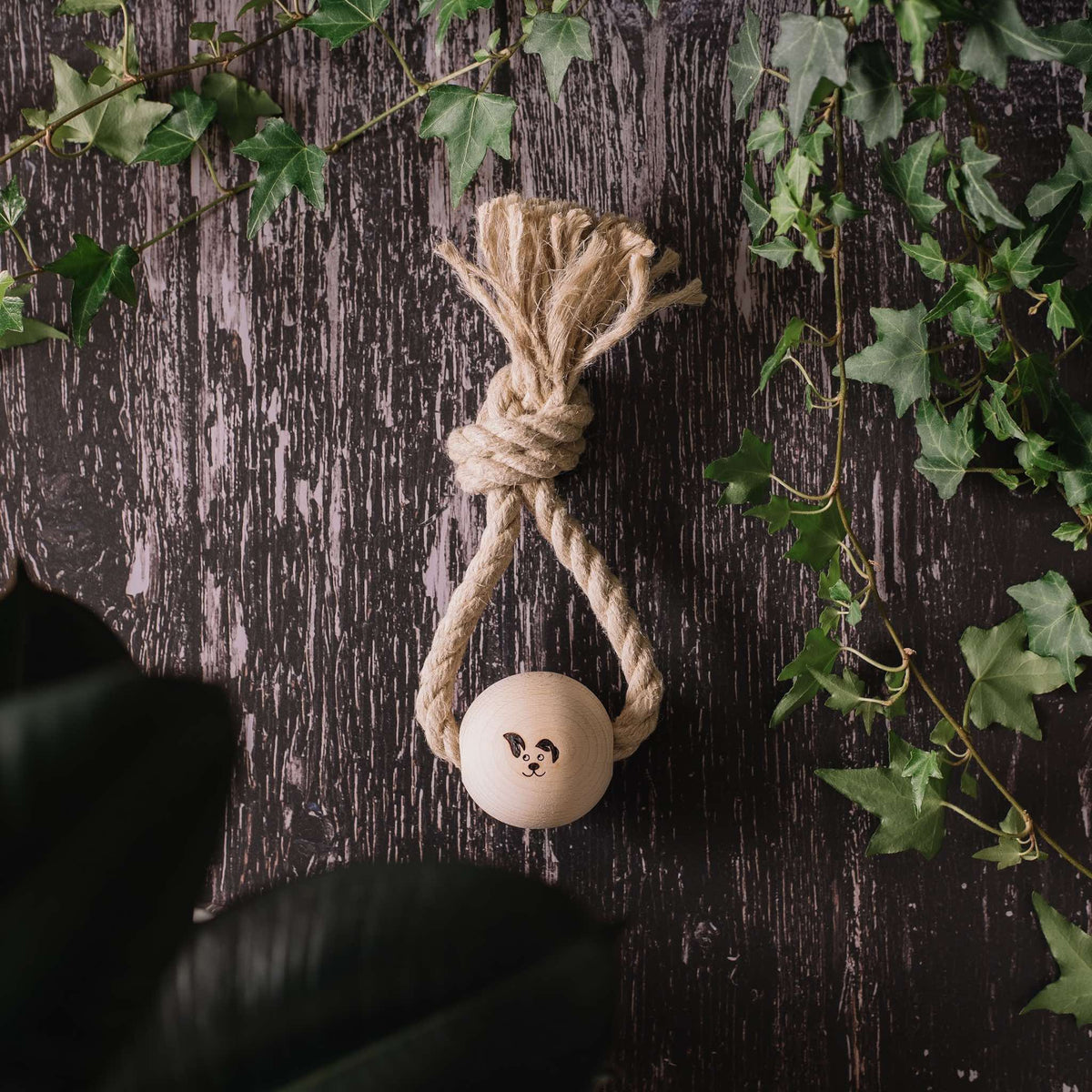 Top Knot - Smug Mutts Natural Hemp Rope and Beech Wood Dog Toy, Ring Shaped Holding the Ball in Place, Top View, Natural and Eco Friendly Dog Toy