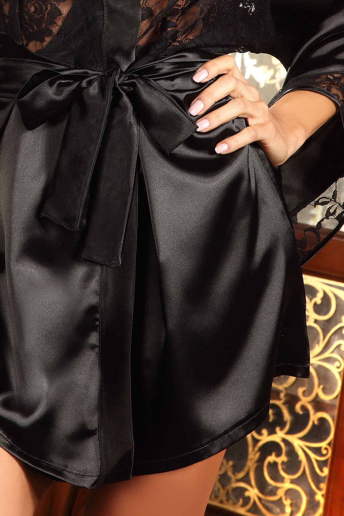 Prilance Dressing Gown Satin Set black
