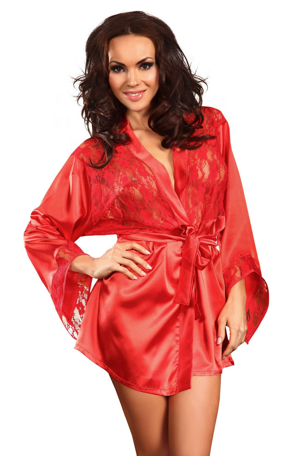 Prilance Shorty Dressing Gown Set Red