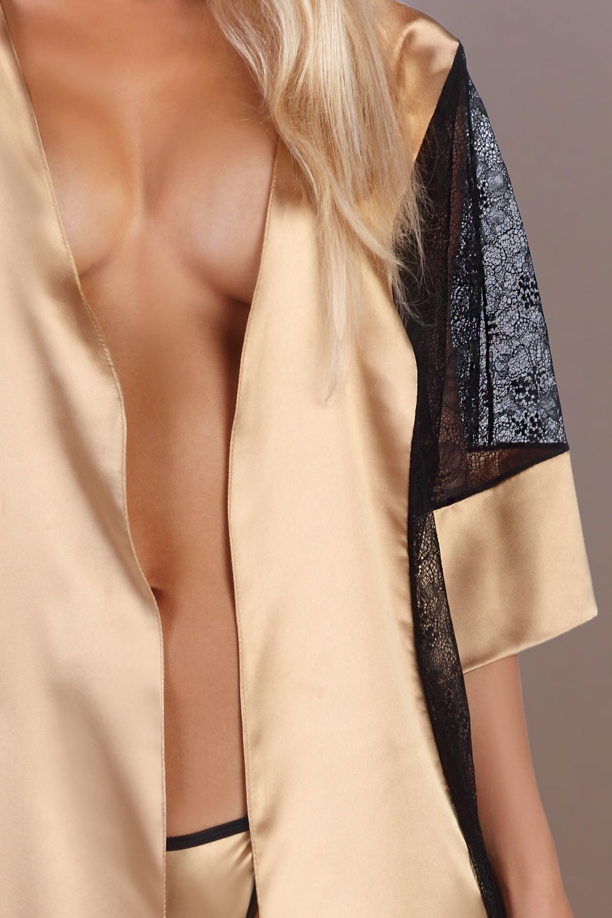 Stephanie Dressing Gown Satin Set gold