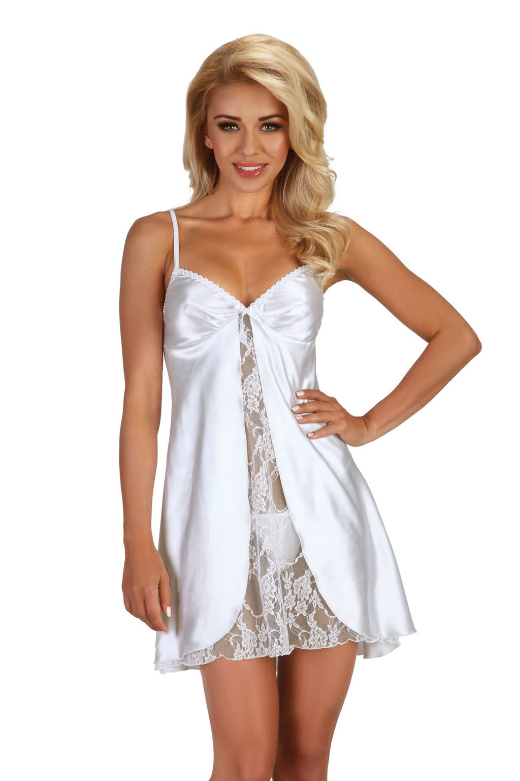 Beauty Night Alexandra White Satin and floral lace 2pc Lingerie set S-XL Women's