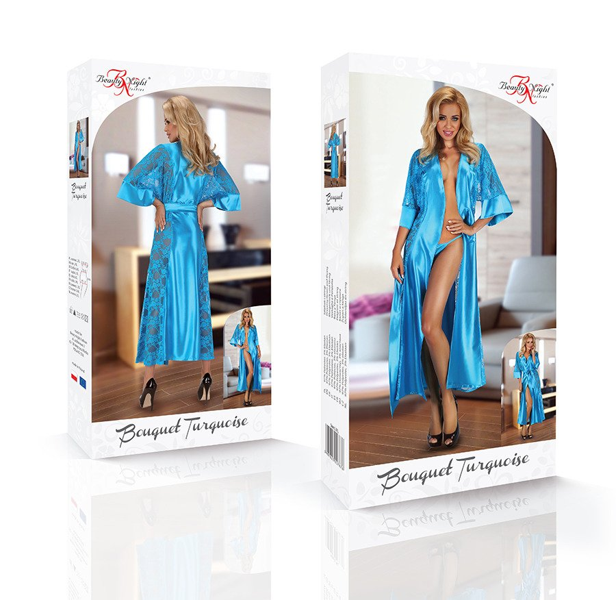 Bouquet Dressing Gown Satin Set turquoise