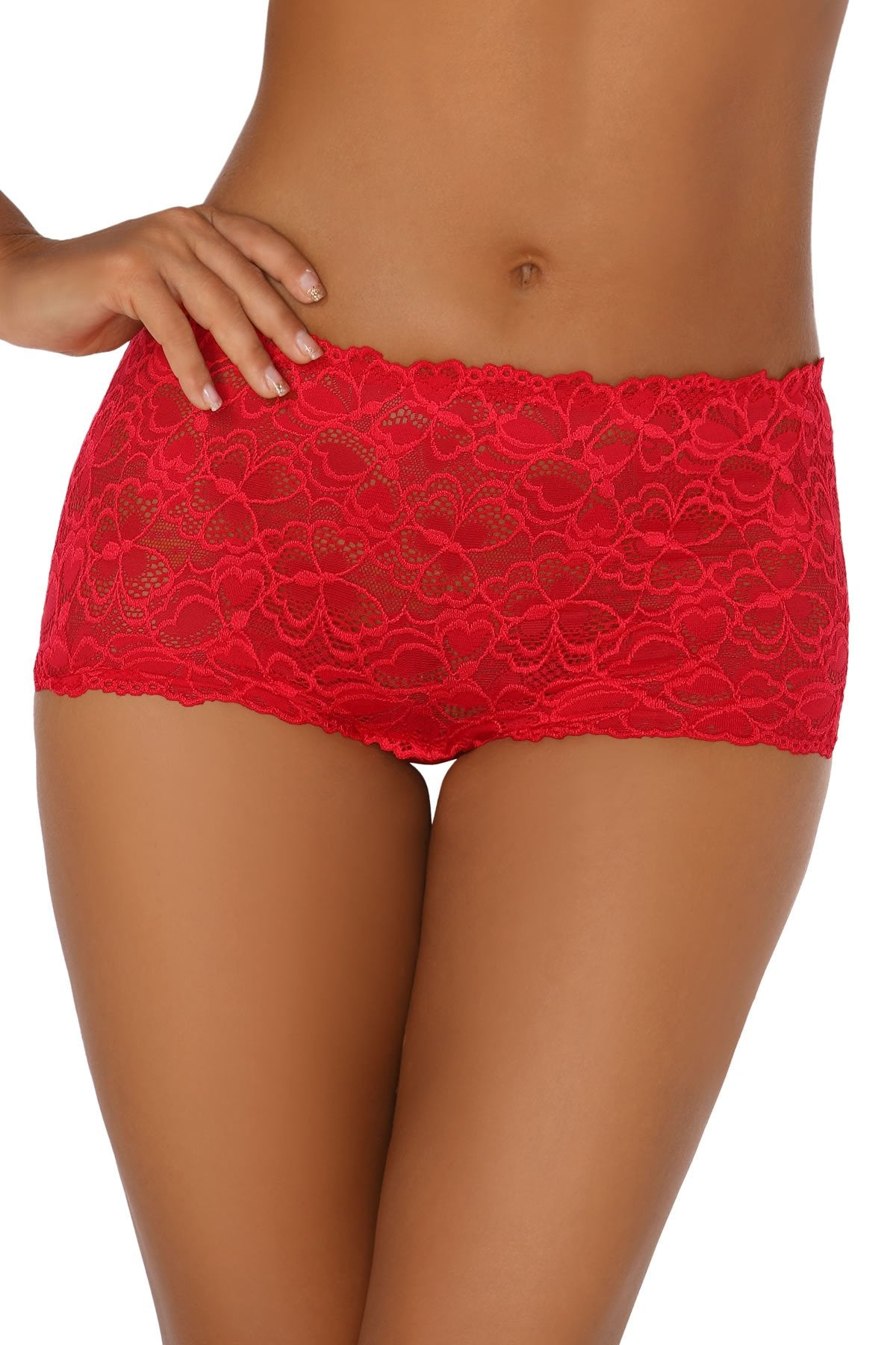 Molly Women Lace Shorts red