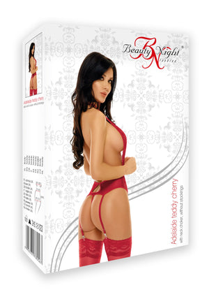 Adelaide Teddy Lingerie with neck choker Cherry